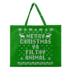 Ugly Christmas Ya Filthy Animal Zipper Large Tote Bag