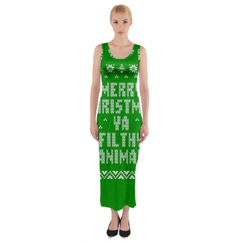 Ugly Christmas Ya Filthy Animal Fitted Maxi Dress