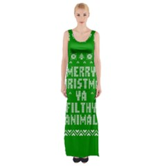 Ugly Christmas Ya Filthy Animal Maxi Thigh Split Dress