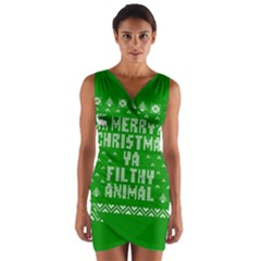 Ugly Christmas Ya Filthy Animal Wrap Front Bodycon Dress