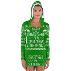 Ugly Christmas Ya Filthy Animal Women s Long Sleeve Hooded T-shirt