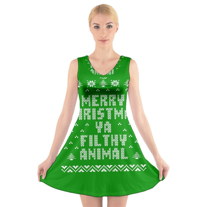 Ugly Christmas Ya Filthy Animal V-Neck Sleeveless Skater Dress