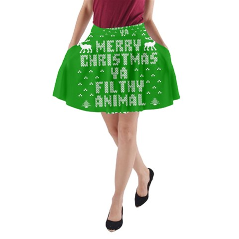 Ugly Christmas Ya Filthy Animal A-Line Pocket Skirt