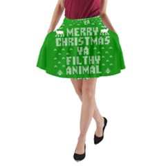 Ugly Christmas Ya Filthy Animal A Line Pocket Skirt