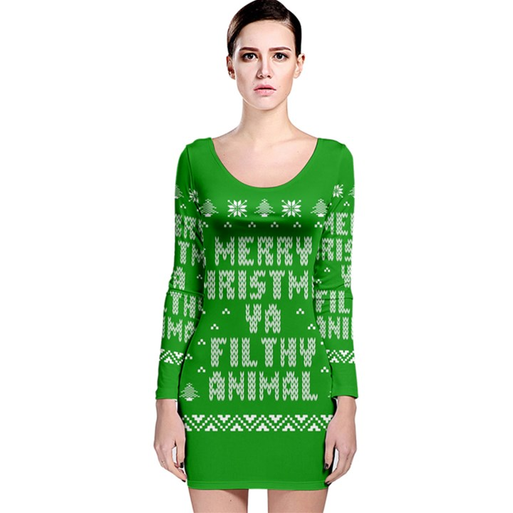 Ugly Christmas Ya Filthy Animal Long Sleeve Velvet Bodycon Dress