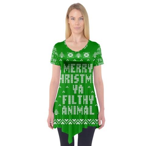 Ugly Christmas Ya Filthy Animal Short Sleeve Tunic