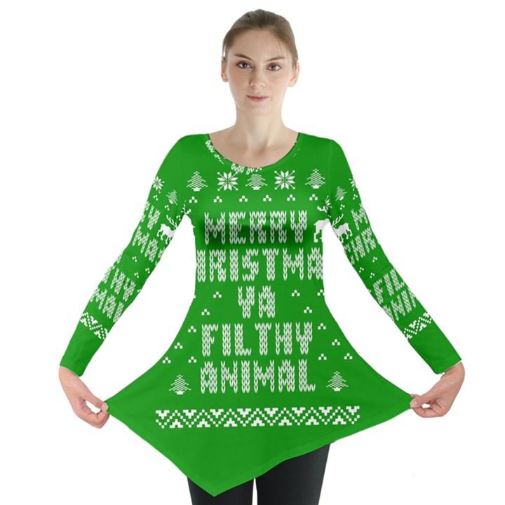 Ugly Christmas Ya Filthy Animal Long Sleeve Tunic
