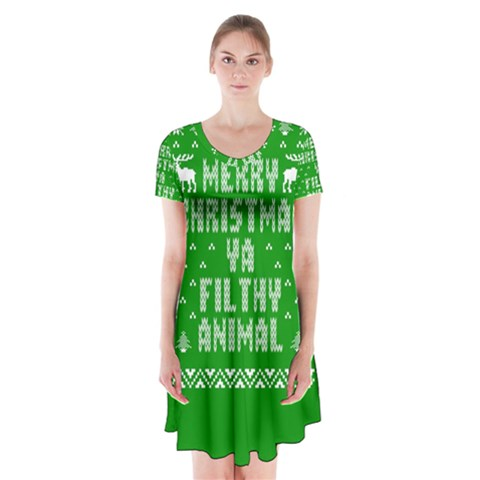Ugly Christmas Ya Filthy Animal Short Sleeve V-neck Flare Dress