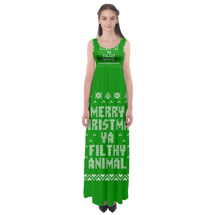 Ugly Christmas Ya Filthy Animal Empire Waist Maxi Dress