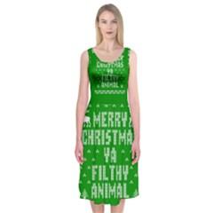 Ugly Christmas Ya Filthy Animal Midi Sleeveless Dress