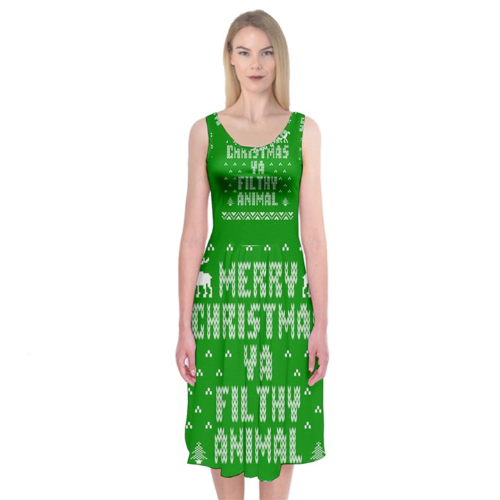 Ugly Christmas Ya Filthy Animal Midi Sleeveless Dress