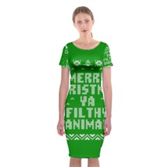 Ugly Christmas Ya Filthy Animal Classic Short Sleeve Midi Dress