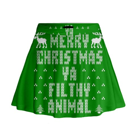 Ugly Christmas Ya Filthy Animal Mini Flare Skirt