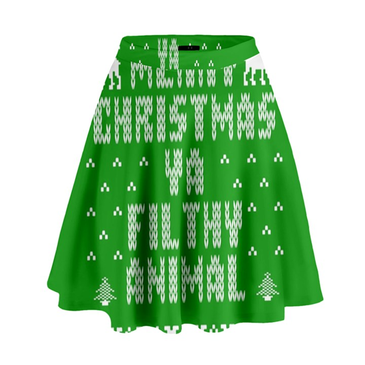 Ugly Christmas Ya Filthy Animal High Waist Skirt