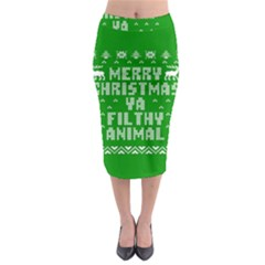 Ugly Christmas Ya Filthy Animal Midi Pencil Skirt
