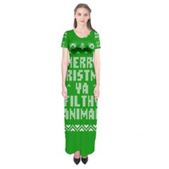 Ugly Christmas Ya Filthy Animal Short Sleeve Maxi Dress