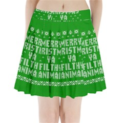 Ugly Christmas Ya Filthy Animal Pleated Mini Skirt