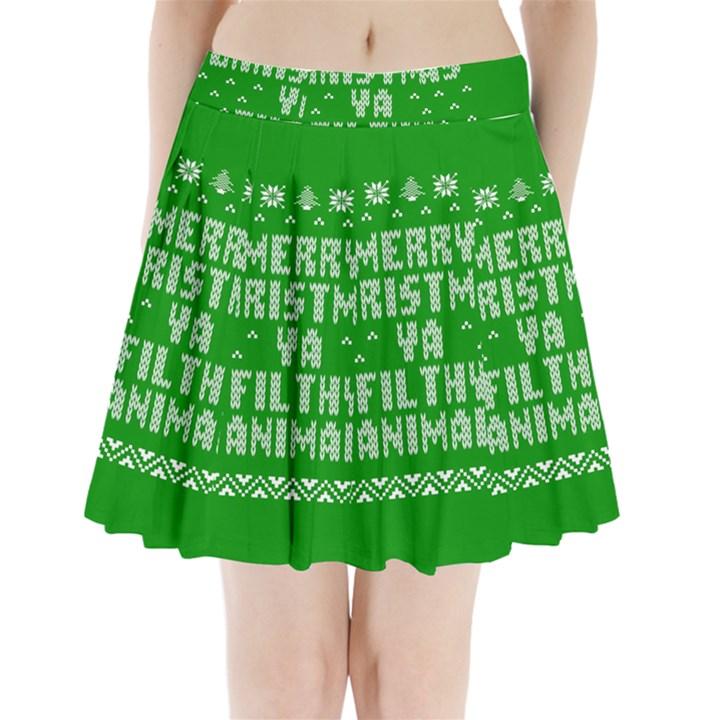 Ugly Christmas Ya Filthy Animal Pleated Mini Skirt