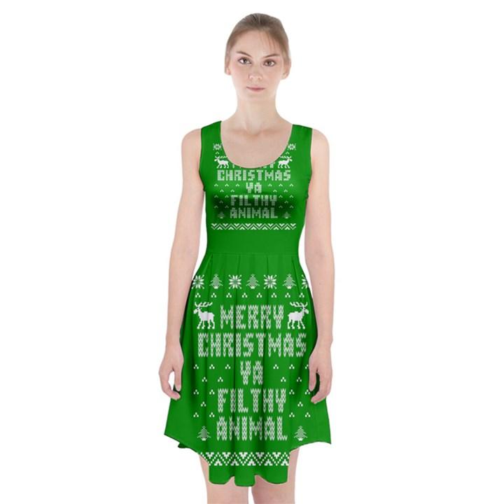 Ugly Christmas Ya Filthy Animal Racerback Midi Dress