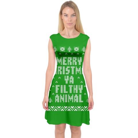 Ugly Christmas Ya Filthy Animal Capsleeve Midi Dress