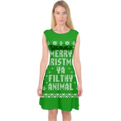 Ugly Christmas Ya Filthy Animal Capsleeve Midi Dress