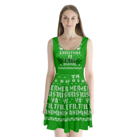 Ugly Christmas Ya Filthy Animal Split Back Mini Dress