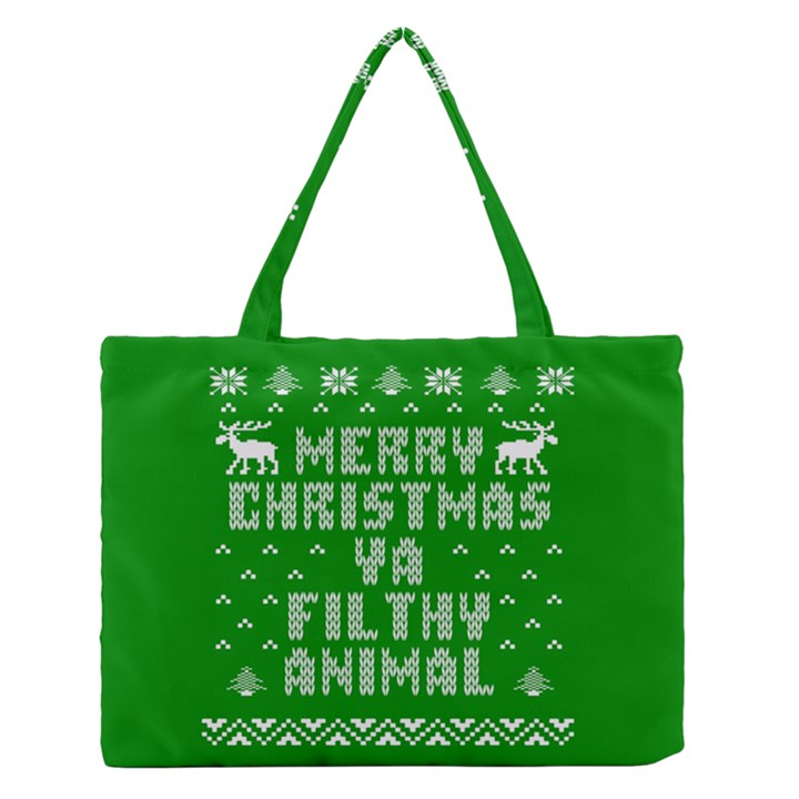 Ugly Christmas Ya Filthy Animal Medium Zipper Tote Bag