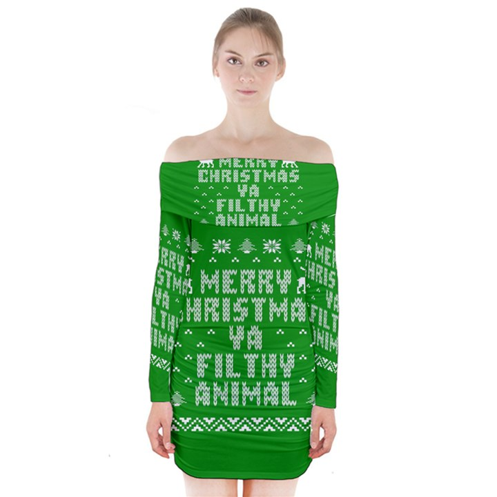 Ugly Christmas Ya Filthy Animal Long Sleeve Off Shoulder Dress