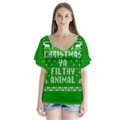 Ugly Christmas Ya Filthy Animal Flutter Sleeve Top