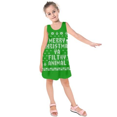 Ugly Christmas Ya Filthy Animal Kids  Sleeveless Dress