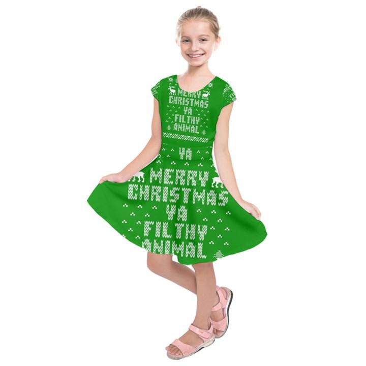 Ugly Christmas Ya Filthy Animal Kids  Short Sleeve Dress