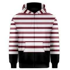 Red Stripes with Black Men s Zipper Hoodie