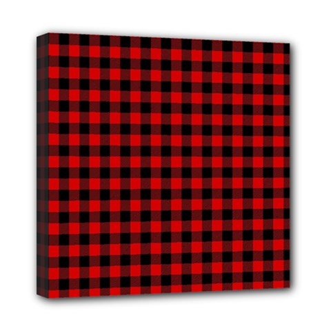 Lumberjack Plaid Fabric Pattern Red Black Mini Canvas 8  X 8