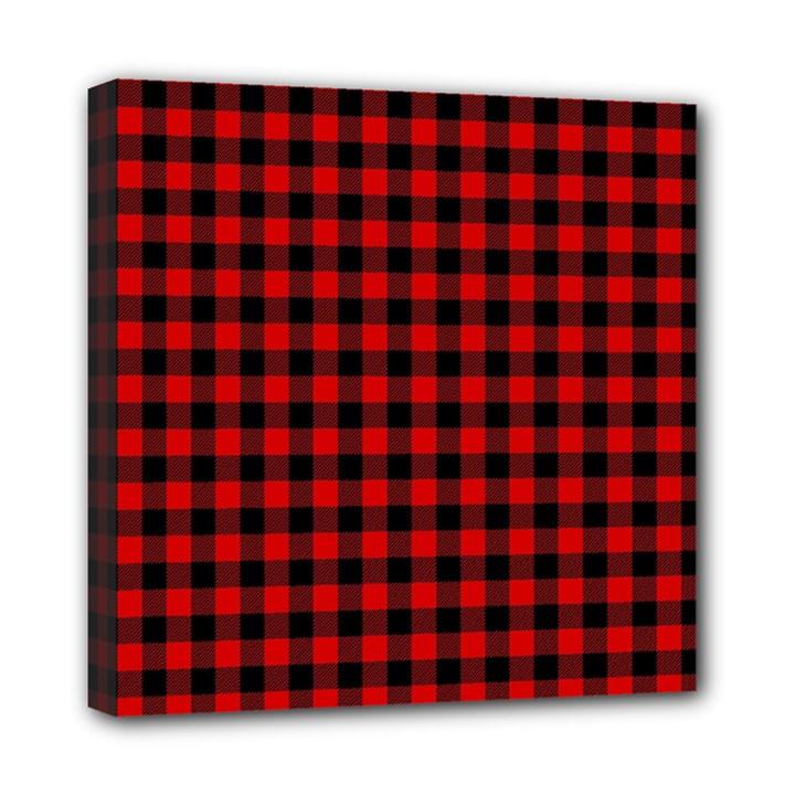 Lumberjack Plaid Fabric Pattern Red Black Mini Canvas 8  x 8