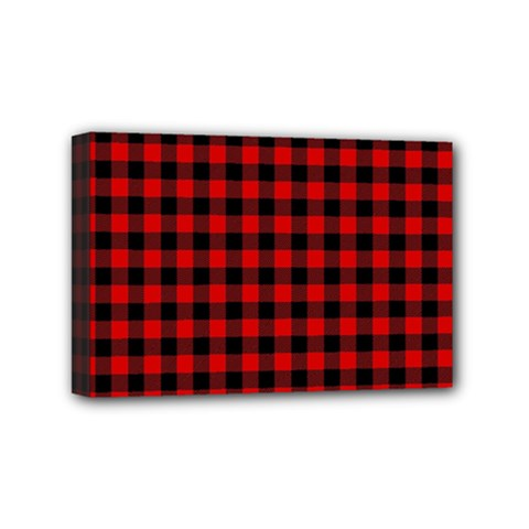 Lumberjack Plaid Fabric Pattern Red Black Mini Canvas 6  X 4