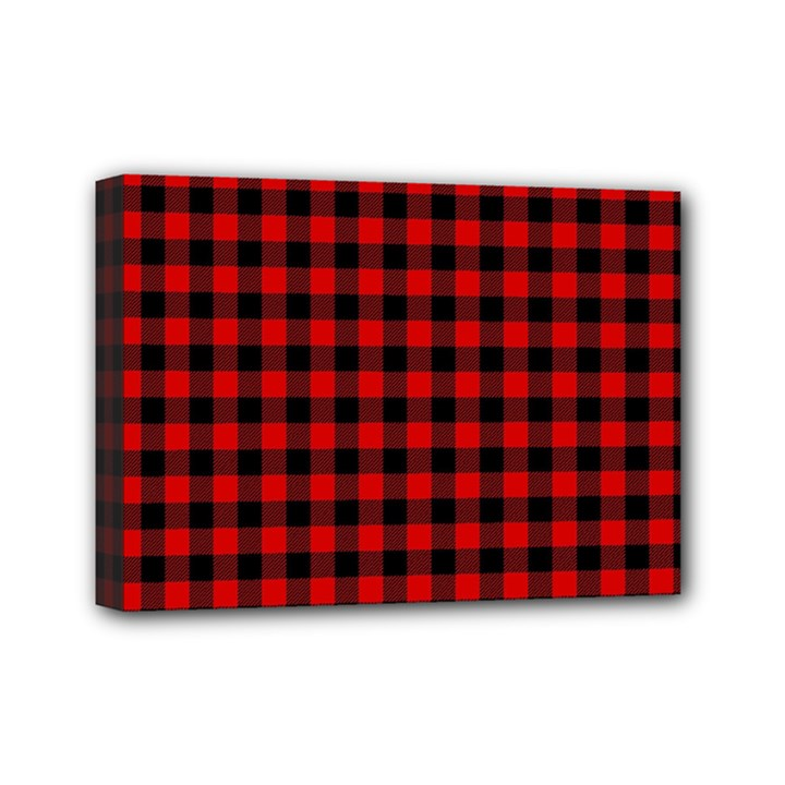 Lumberjack Plaid Fabric Pattern Red Black Mini Canvas 7  x 5