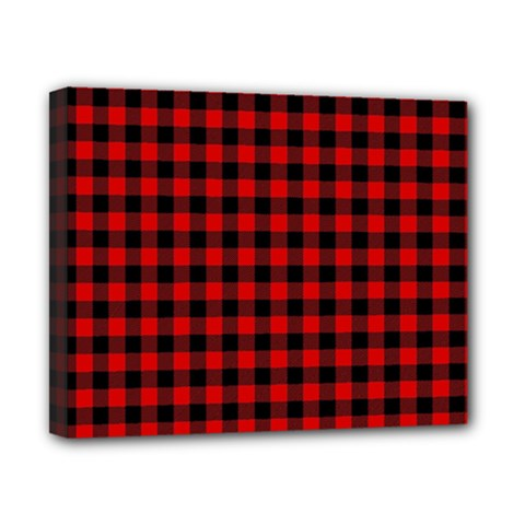 Lumberjack Plaid Fabric Pattern Red Black Canvas 10  x 8