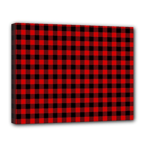 Lumberjack Plaid Fabric Pattern Red Black Canvas 14  X 11