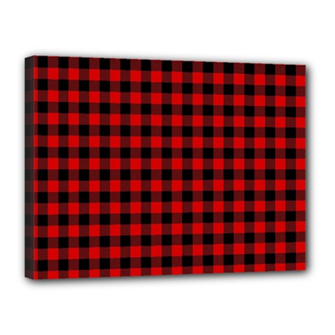 Lumberjack Plaid Fabric Pattern Red Black Canvas 16  X 12