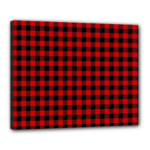Lumberjack Plaid Fabric Pattern Red Black Canvas 20  x 16