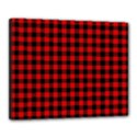 Lumberjack Plaid Fabric Pattern Red Black Canvas 20  x 16  View1