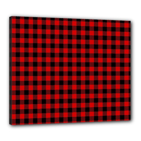 Lumberjack Plaid Fabric Pattern Red Black Canvas 24  X 20