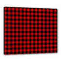 Lumberjack Plaid Fabric Pattern Red Black Canvas 24  x 20  View1