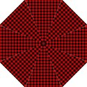 Lumberjack Plaid Fabric Pattern Red Black Folding Umbrellas View1