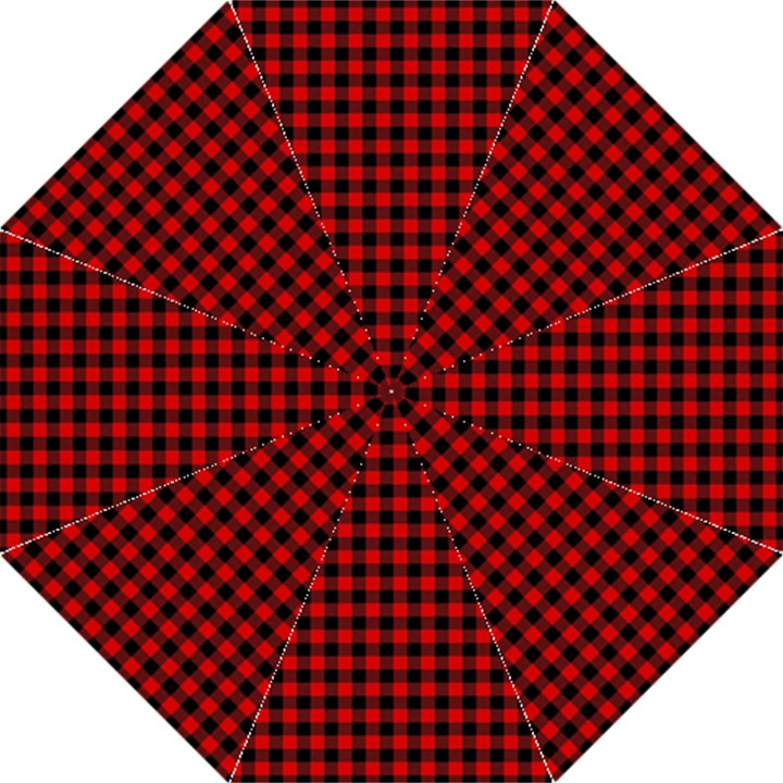 Lumberjack Plaid Fabric Pattern Red Black Folding Umbrellas