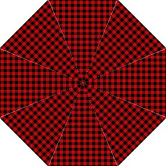 Lumberjack Plaid Fabric Pattern Red Black Straight Umbrellas