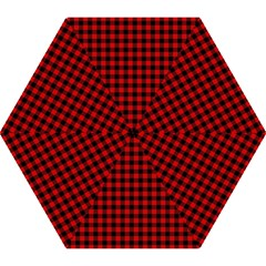 Lumberjack Plaid Fabric Pattern Red Black Mini Folding Umbrellas