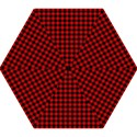 Lumberjack Plaid Fabric Pattern Red Black Mini Folding Umbrellas View1