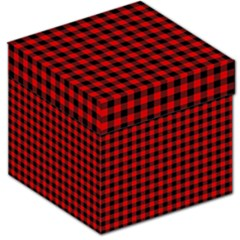 Lumberjack Plaid Fabric Pattern Red Black Storage Stool 12