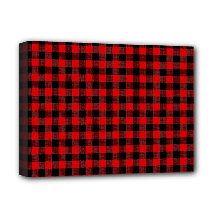 Lumberjack Plaid Fabric Pattern Red Black Deluxe Canvas 16  x 12